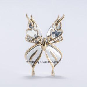 Jóia da borboleta - Design por Hicham Chajai com caligrafia árabe